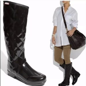 Hunter Regent Savory Quilted Glossy Boots